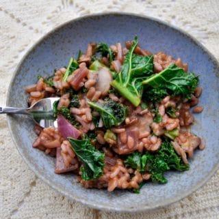 mushroom kale risotto