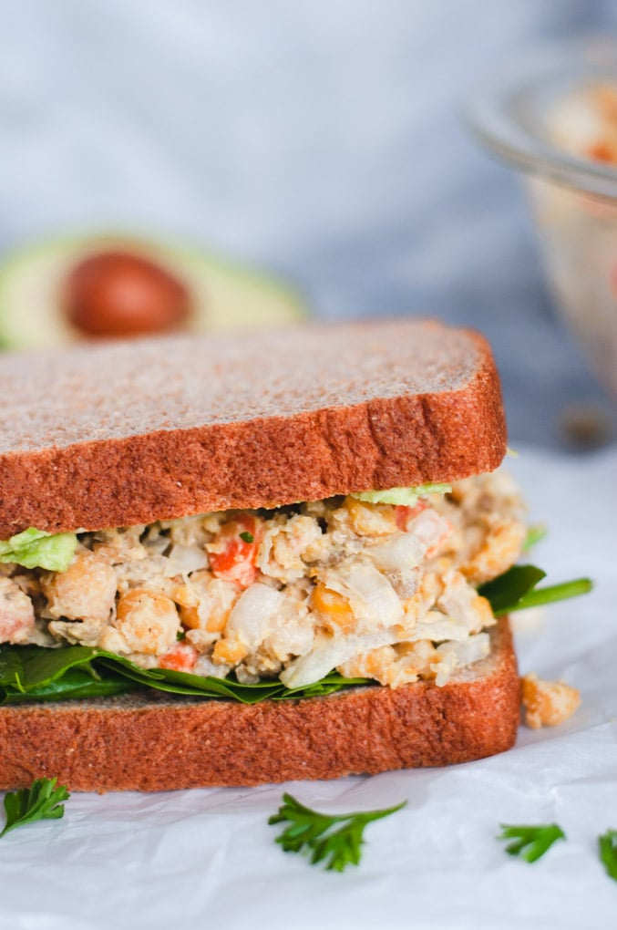 Close up of chickpea salad sandwich filing