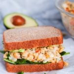Chickpea salad sandwich on whole wheat bread