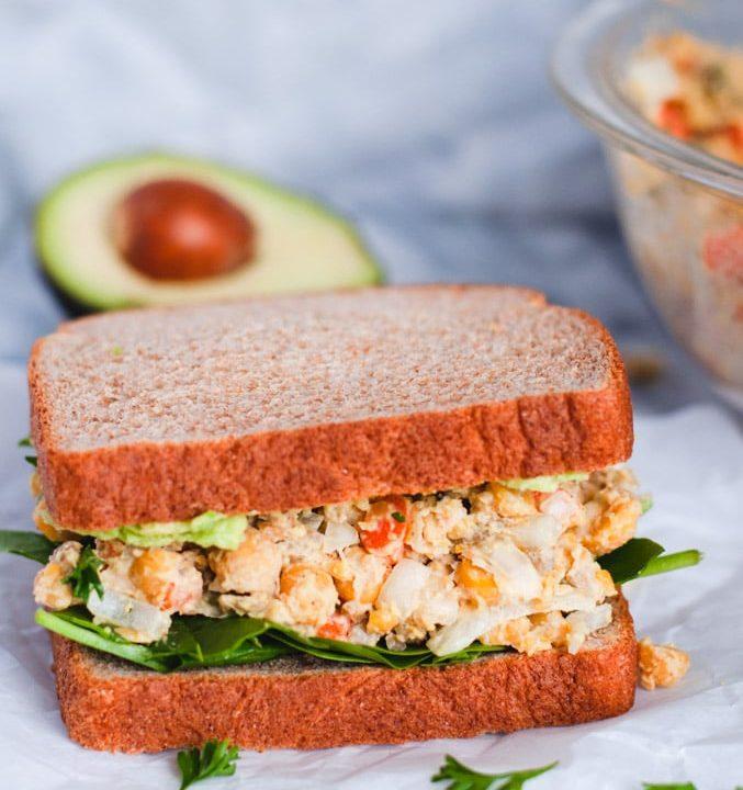 Chickpea salad sandwich on whole wheat bread