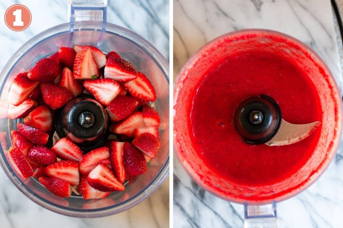 Step 1 to make strawberry puree
