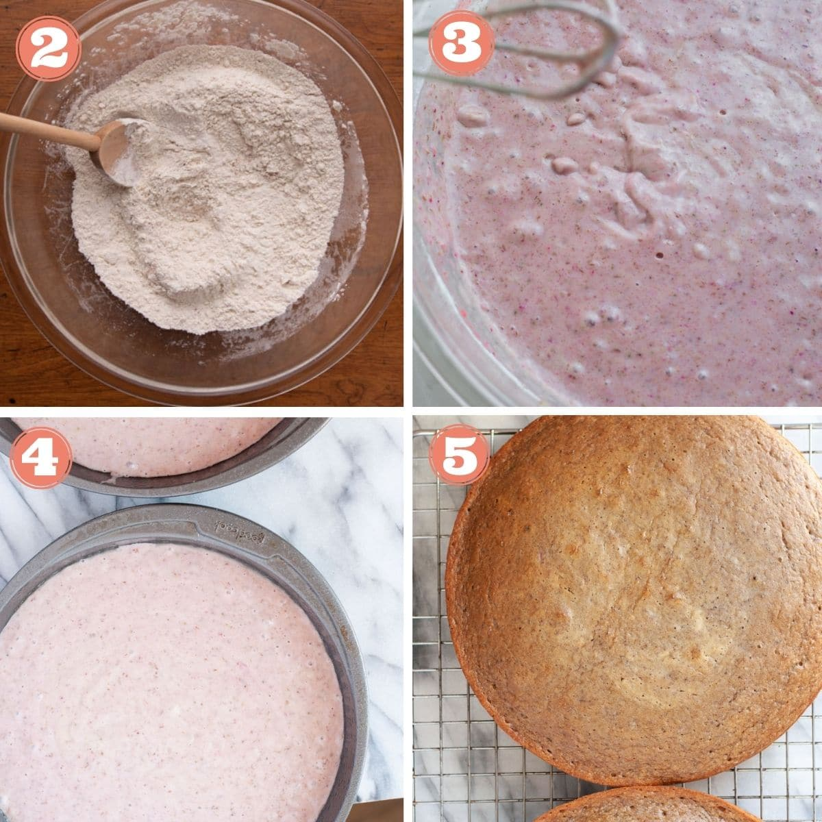 Steps 2 through 5 to make strawberry cake