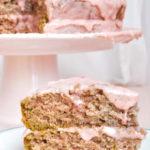 Slice of double strawberry vegan cake