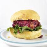 Beet burger on sweet potato bun