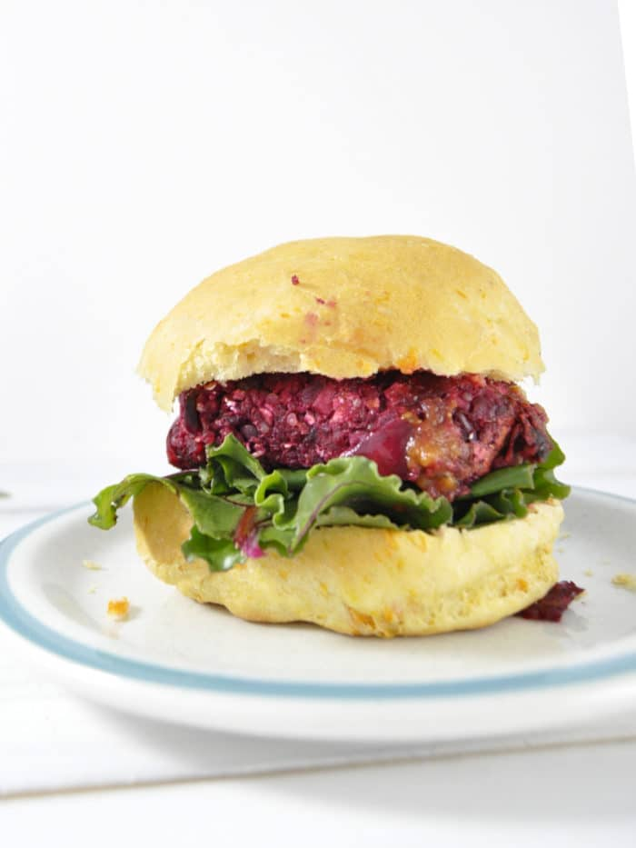 Beet burger on sweet potato bun