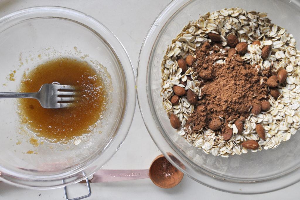 chocolate granola and mocha overnight oats