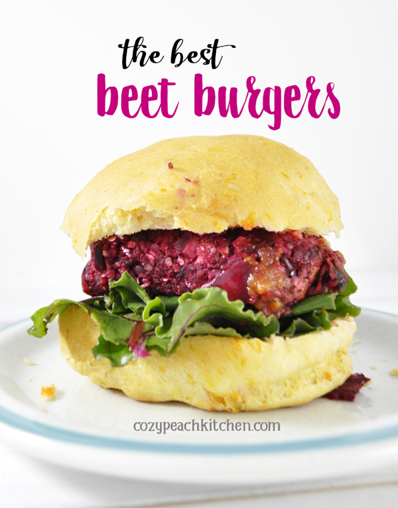Beet burger pin labeled with recipe title