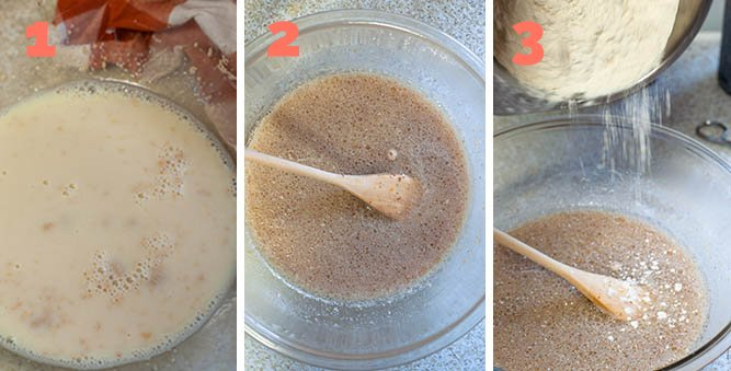 1. Dissolving yeast 2. Mixing yeast with oil, salt 3. Adding flour