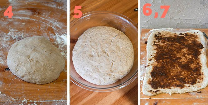 4. Knead dough 5. Let rest until doubled in size 6,7. Roll out the dough and add cinnamon sugar filling