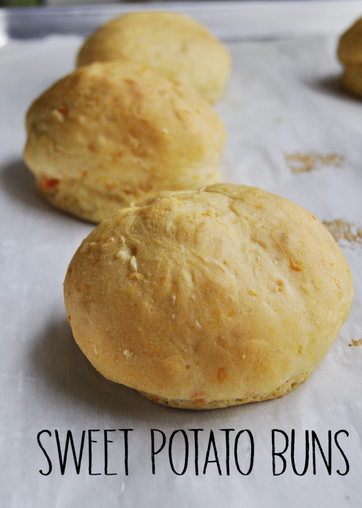Pin image of sweet potato bun with title of recipe