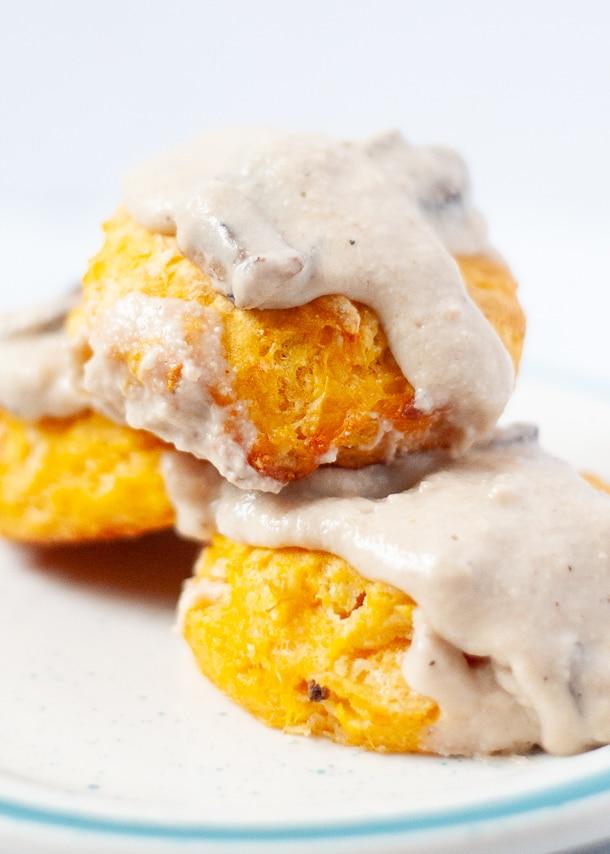 Sweet potato biscuits with cashew mushroom gravy on top