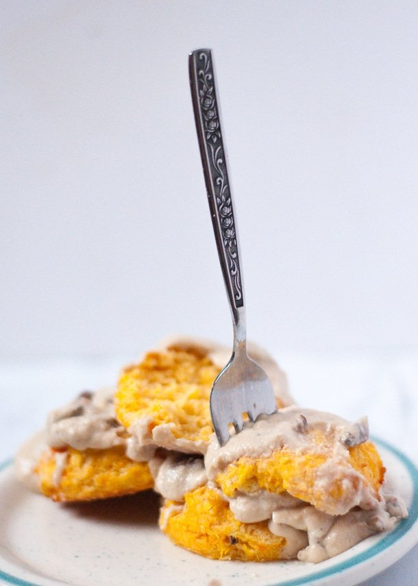 Fork in a sweet potato biscuit