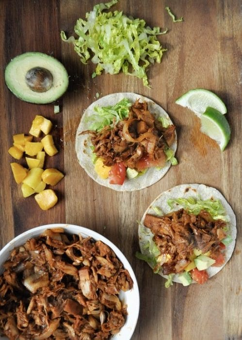 Vegan BBQ jackfruit tacos with mango avocado salsa