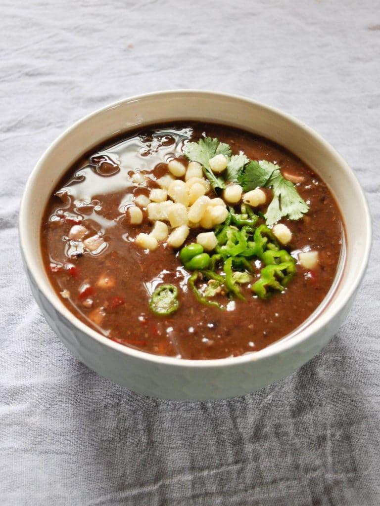 black bean soup in bowl