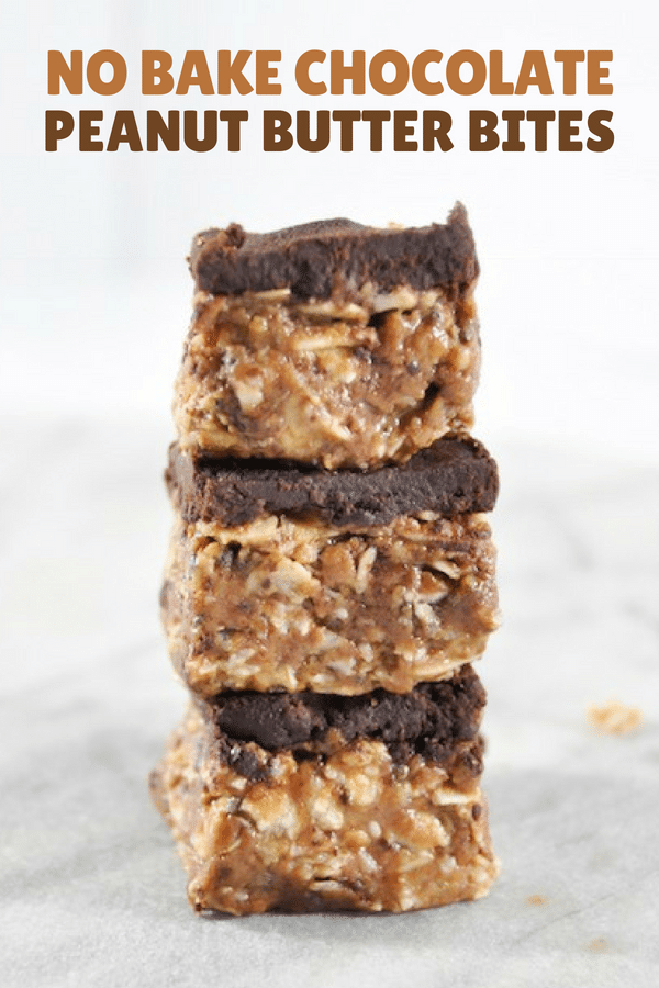 Pin image with recipe title showing three peanut butter bites stacked on each other