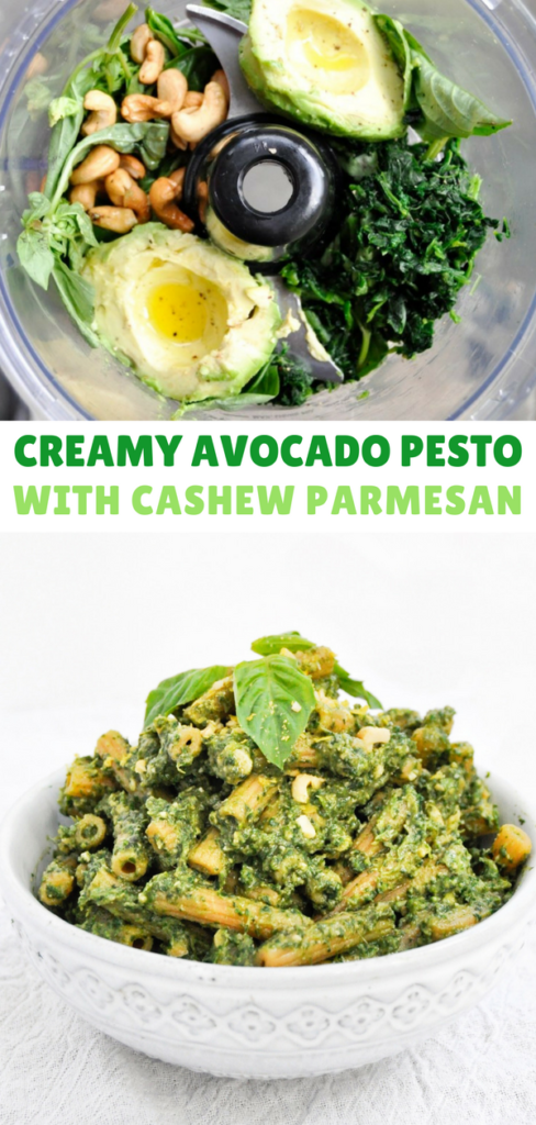 Creamy Avocado Pesto with Cashew Parmesan
