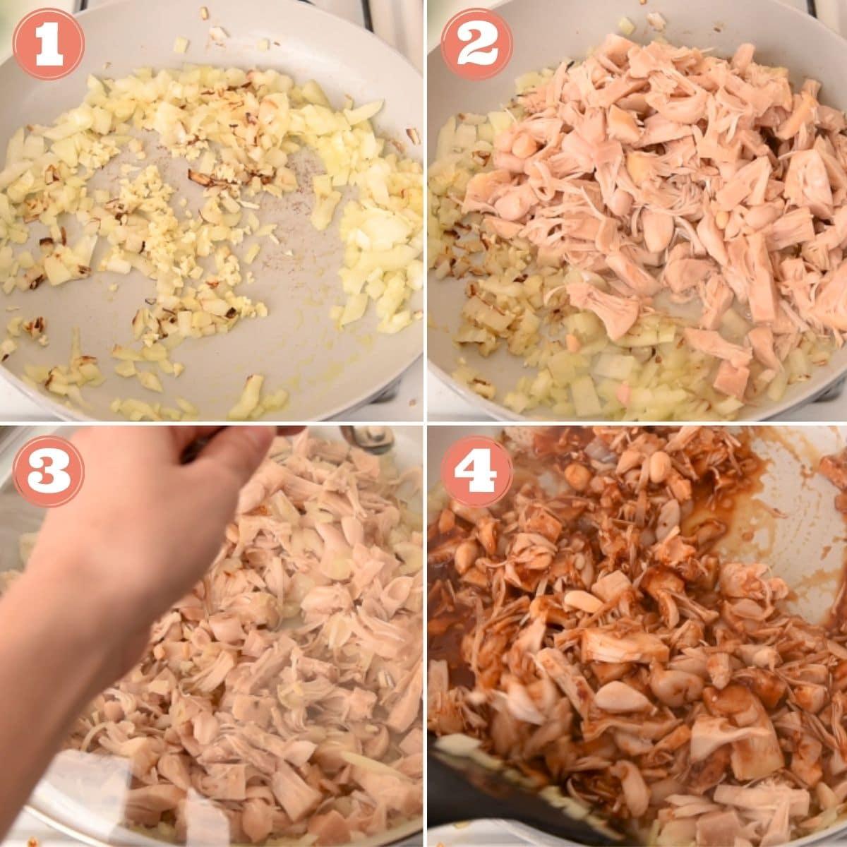 Steps 1 through 4 to make bbq jackfruit