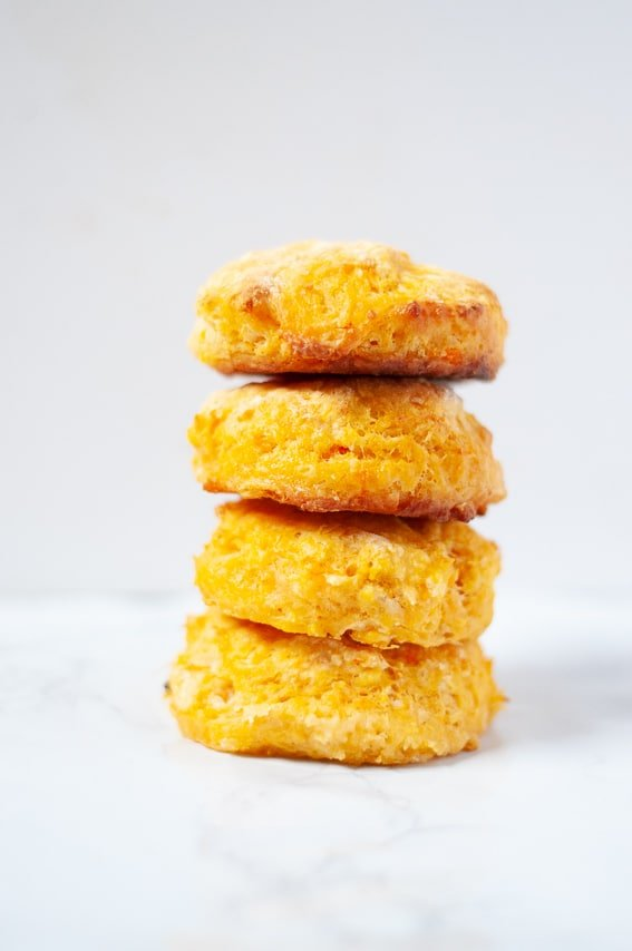 Sweet potato biscuits stack on top of eachother
