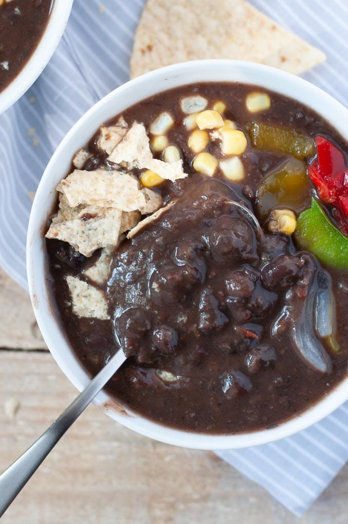 Close up of black bean soup