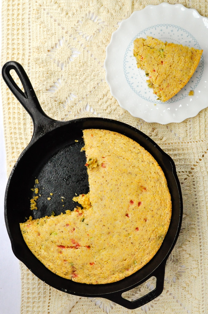 Cast iron skillet with cornbread