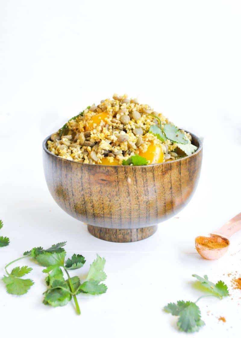 masala riced cauliflower and lentil salad