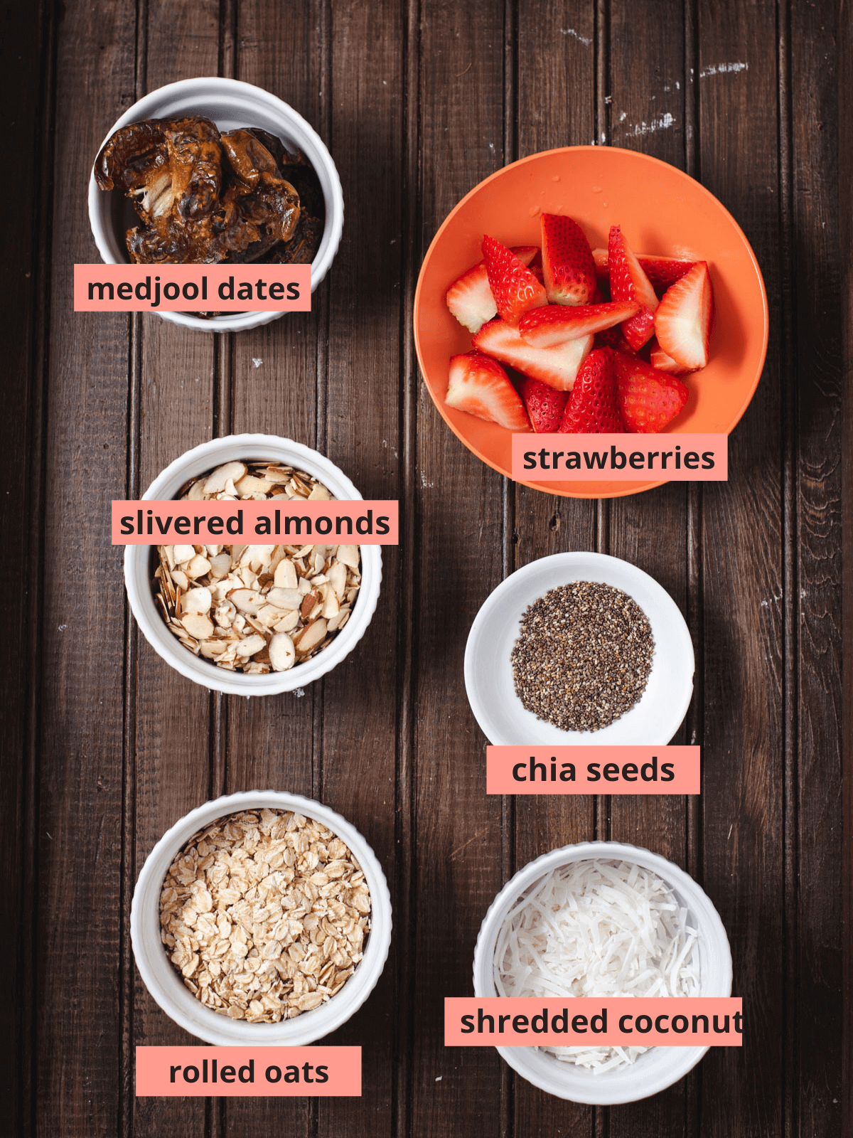 Labeled ingredients used to make energy balls