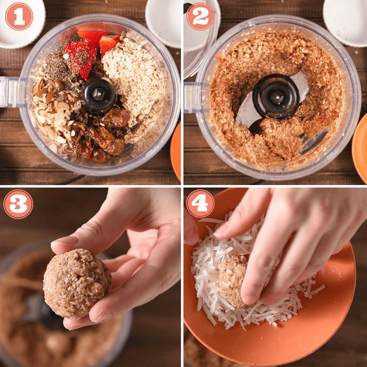 Steps 1 through 4 to make energy balls