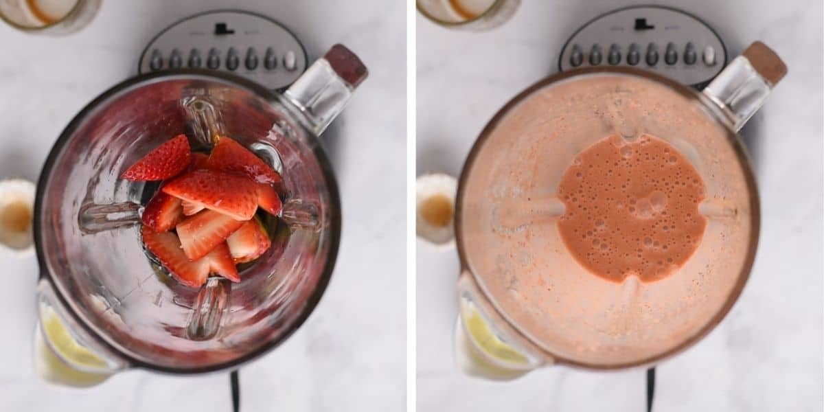 Strawberries in blender before and after blending