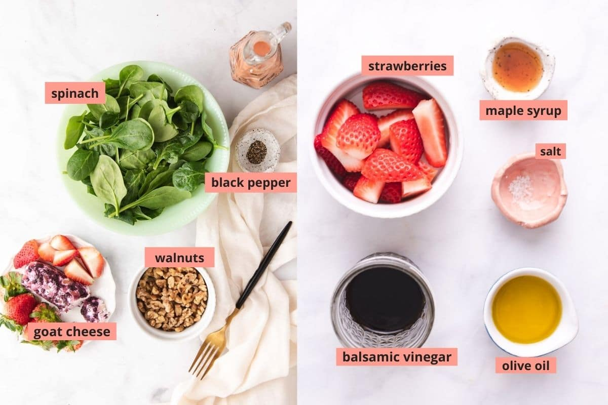 Labeled ingredients used to make spinach salad and strawberry vinaigrette
