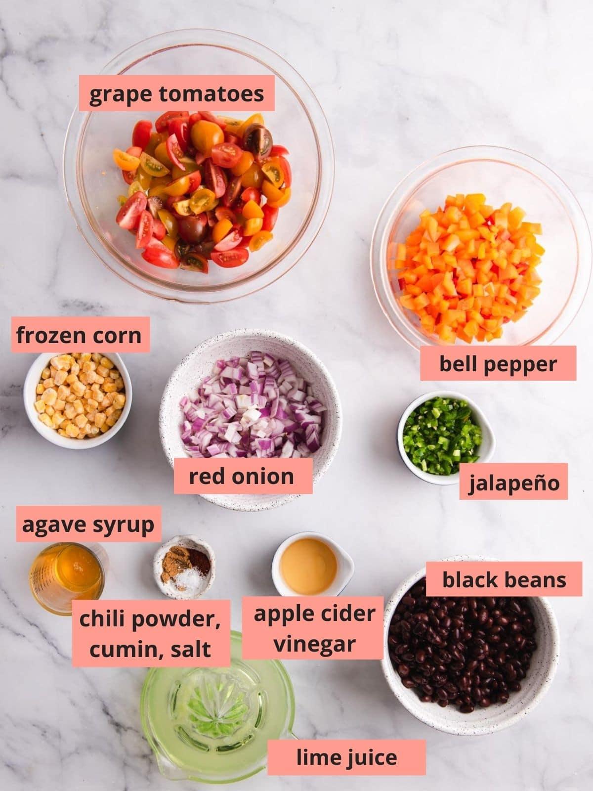 Labeled ingredients used to make black bean salsa