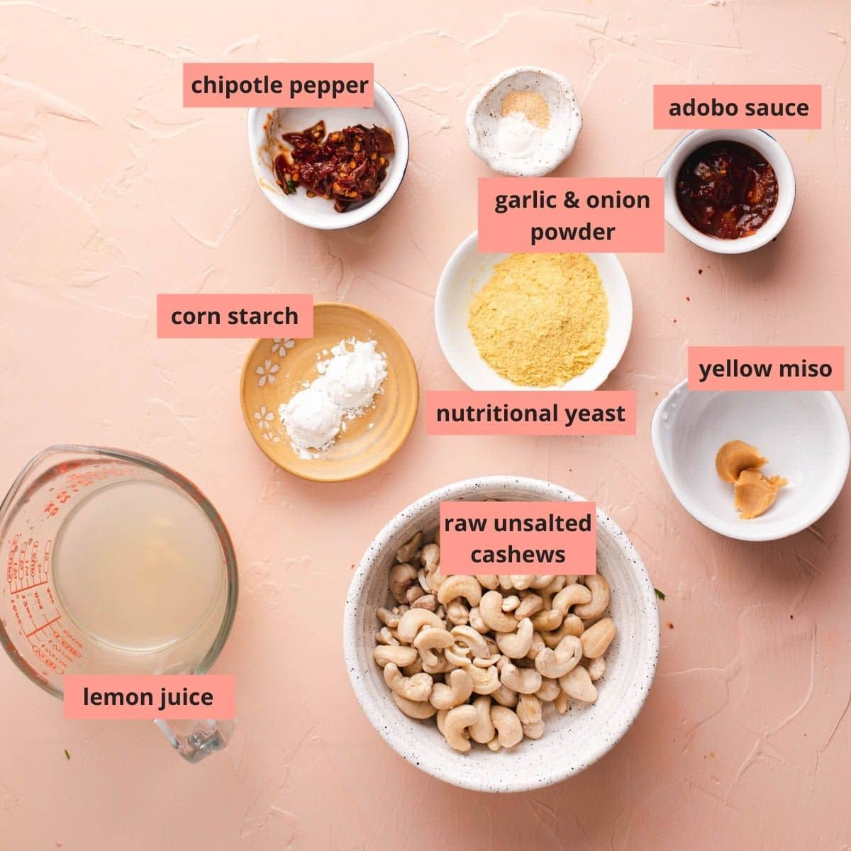 Labeled ingredients used to make cashew queso