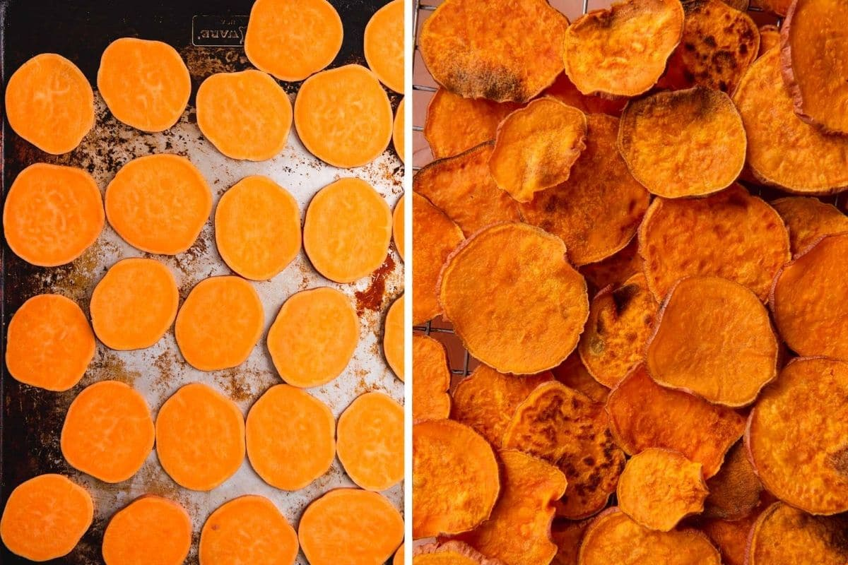 Sweet potato nachos before and after baking