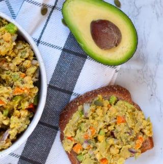 Chickpea Avocado Salad on toast with avocado
