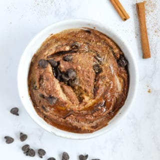 Chocolate snickerdoodle dessert hummus swirled together into a creamy combination
