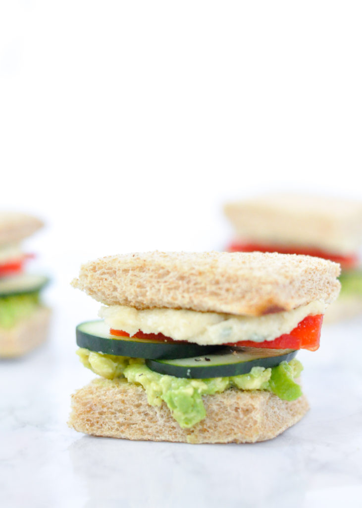 vegan cucumber tea sandwich with herbed cream cheese
