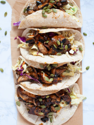 Four mushroom tacos from above