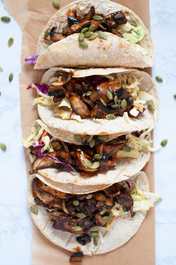 BBQ pulled portobello tacos from above