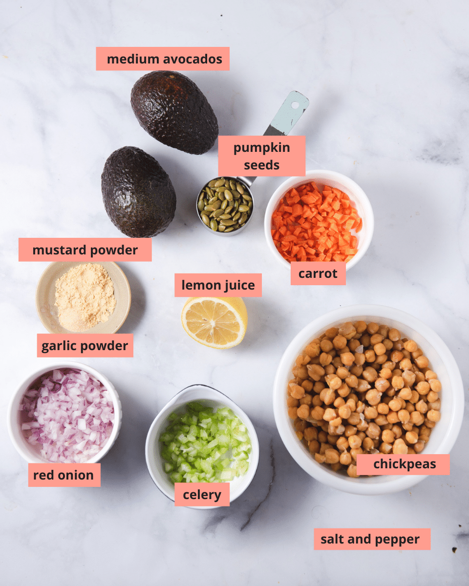 Labeled ingredients in separate bowls on a marble background