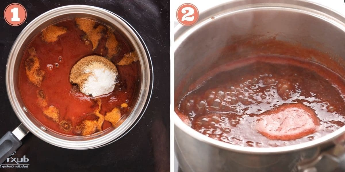 Steps 1 and 2 to make BBQ sauce