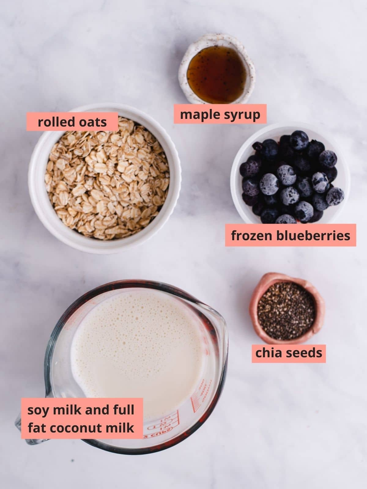 Labeled ingredients used to make blueberry overnight oats