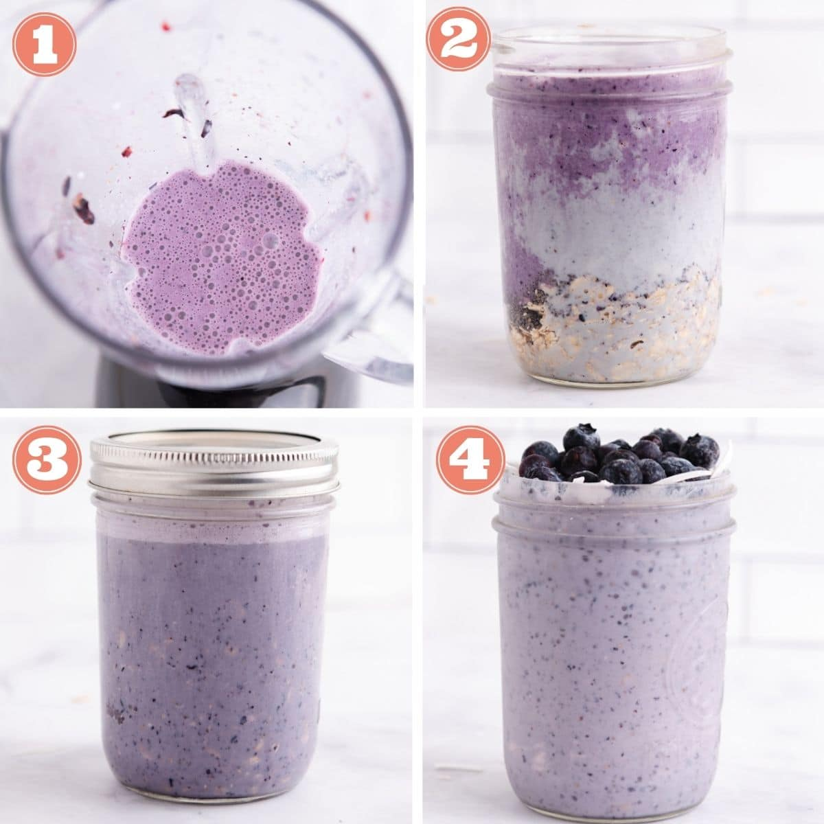 Steps 1 through 4 to make overnight oats