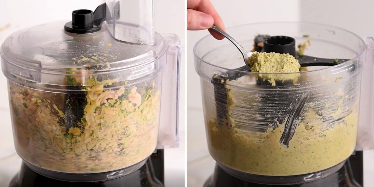 Cashews blending in a food processor and spoon lifting cashew cheese out of food processor