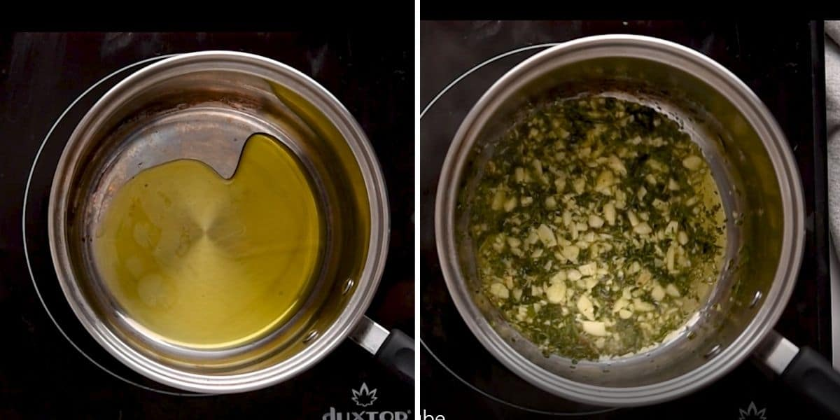 Oil heating in a sauce pot and herbs and garlic being bloomed in oil