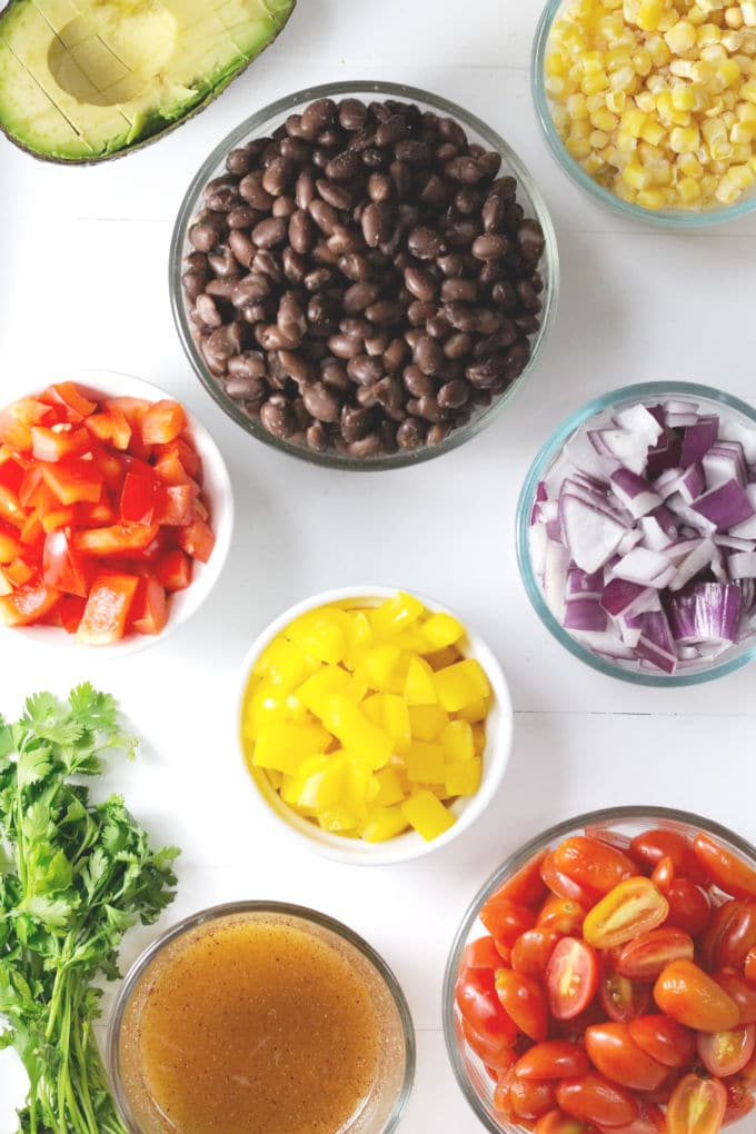 Fresh Black Bean Salad Ingredients