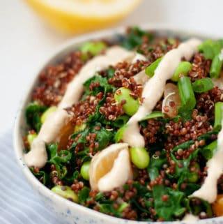 Quinoa Edamame Salad with Cashew Miso Dressing