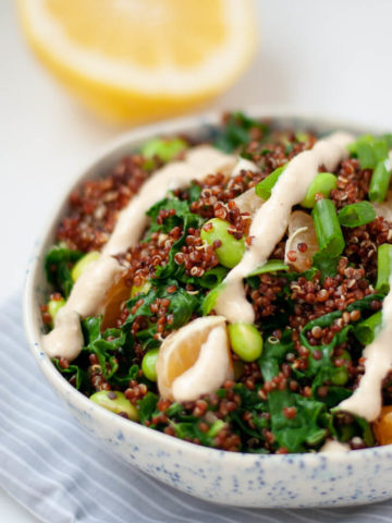 Quinoa salad in speckled bowl