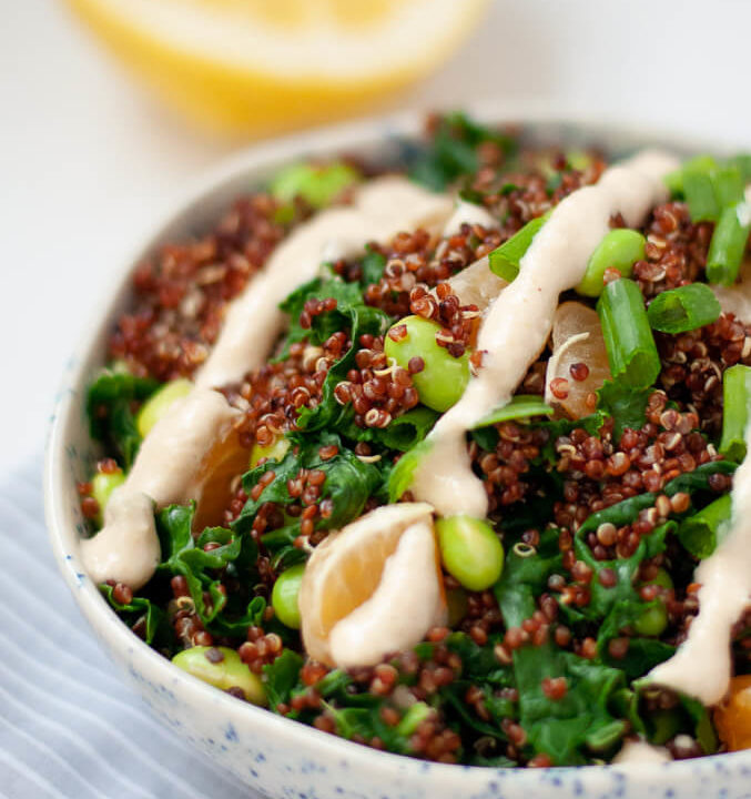 Quinoa salad in speckled bowl