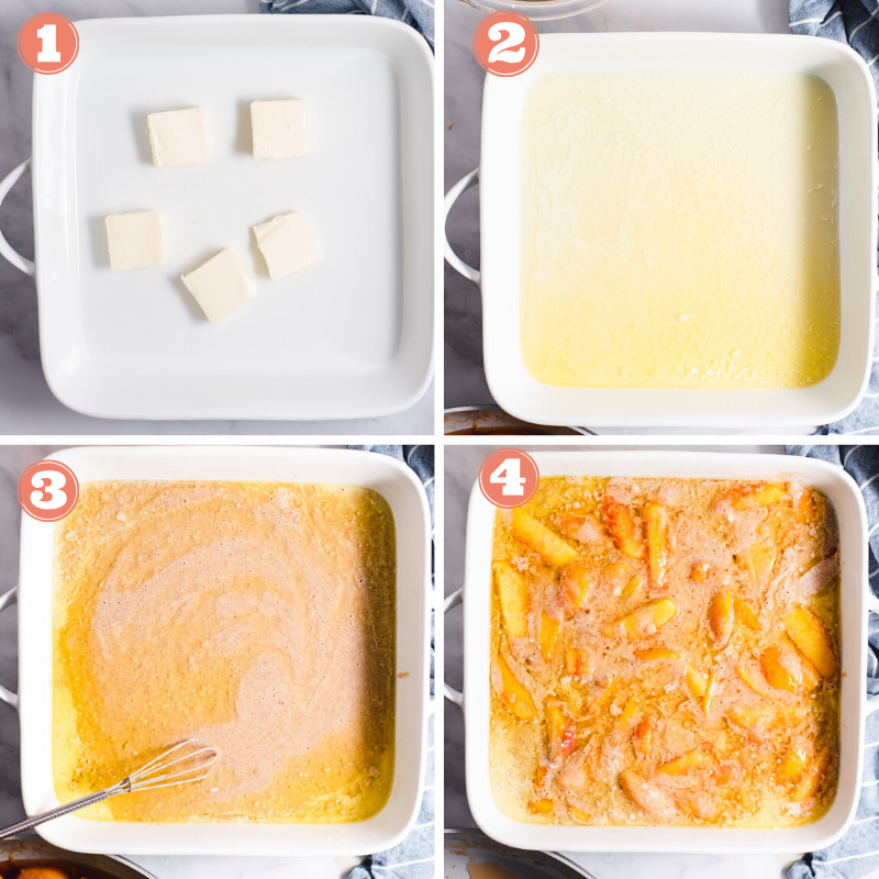 Four images showing steps to make peach cobbler
