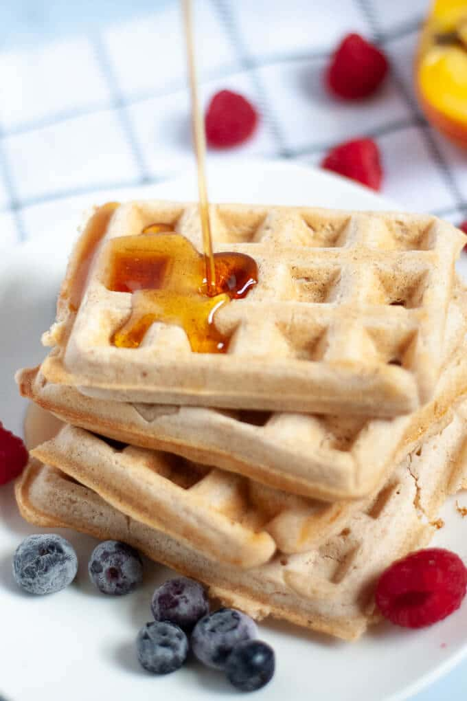 Fluffy Vegan Waffles with syrup
