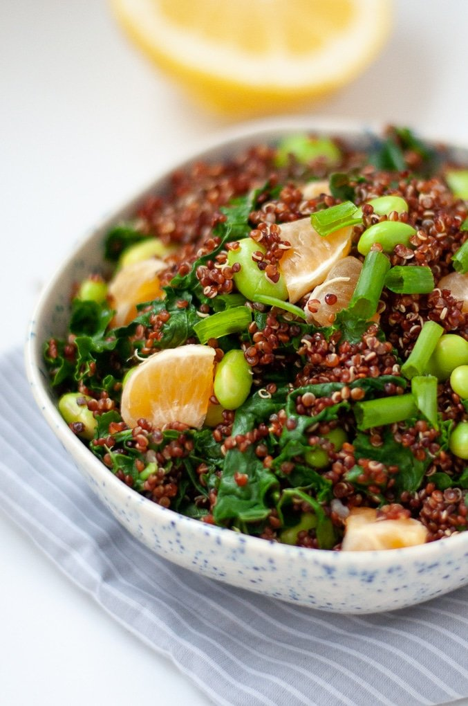 Quinoa Edamame Salad with tangerines and green onions